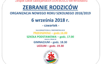 ZEBRANIE RODZICÓW – ORGANIZACJA ROKU 2018/2019